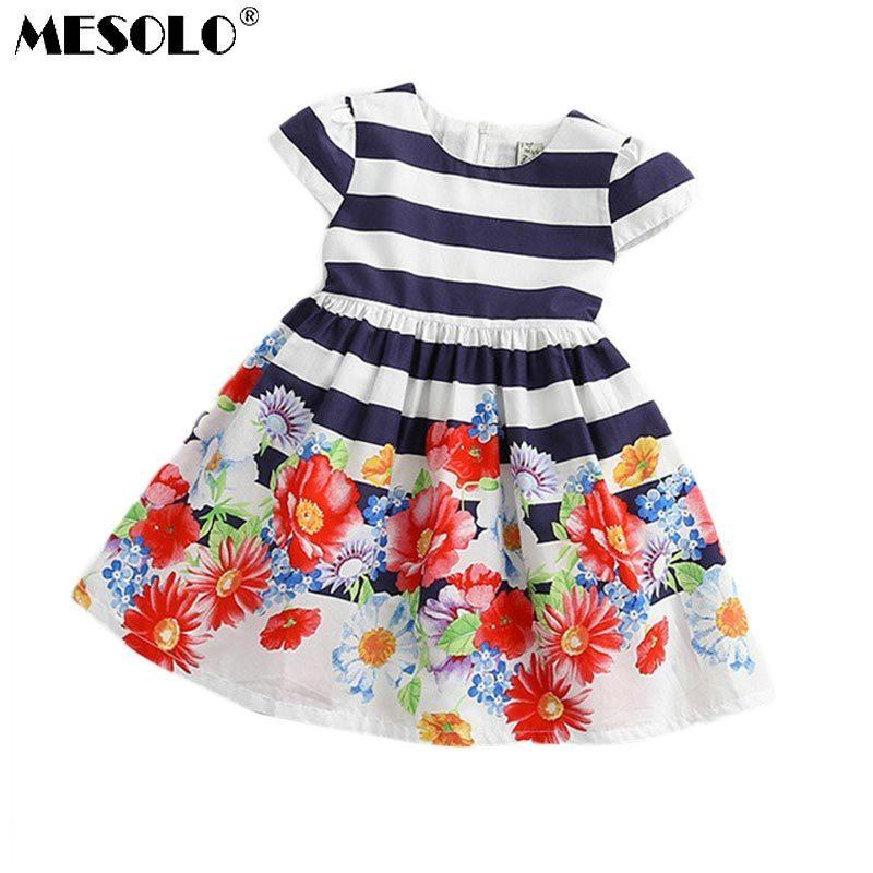 91a8eb8d9 Kids 2019 Spring and Summer New Gorgeous Flowers Striped lace Children's  Dress Girls Short-Sleeved Dress