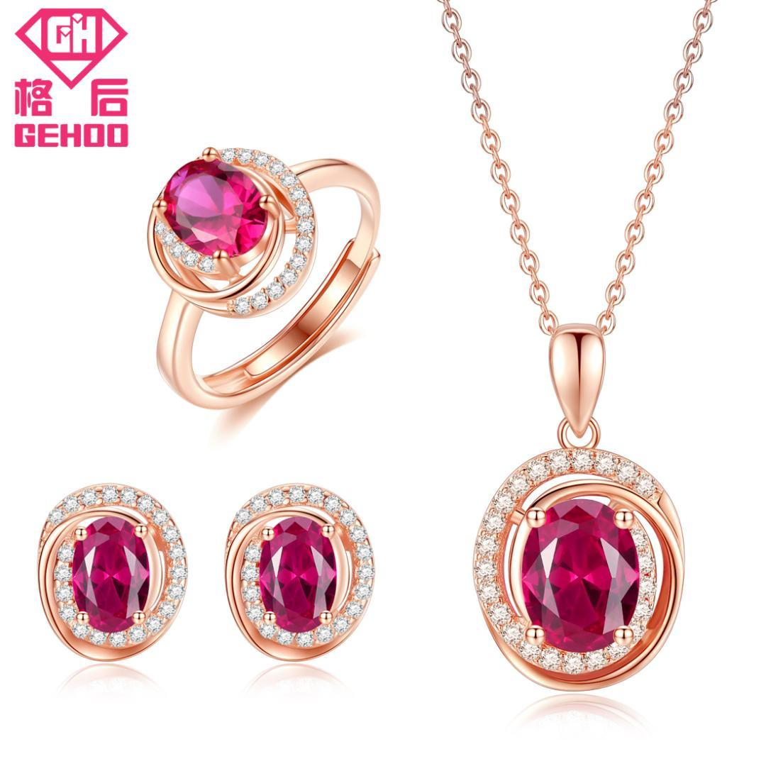 d7052bd1b8 2019 GEHOO Red Stones Jewelry Set Ruby Paved CZ Pendant Unique Design 925  Sterling Silver Women Charm Necklace & Stud Earrings & Ring From  Taihangshan, ...