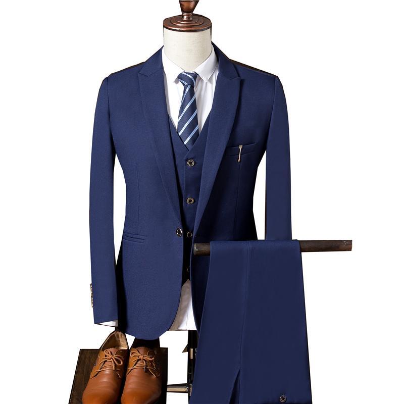Chaleco Blazer Trabajo Tres Slim Traje Formal Sólido Planchar Piezas Pantalón Hombre Compre Color Novia Coat De Sin Ropa Vestido Xq4af
