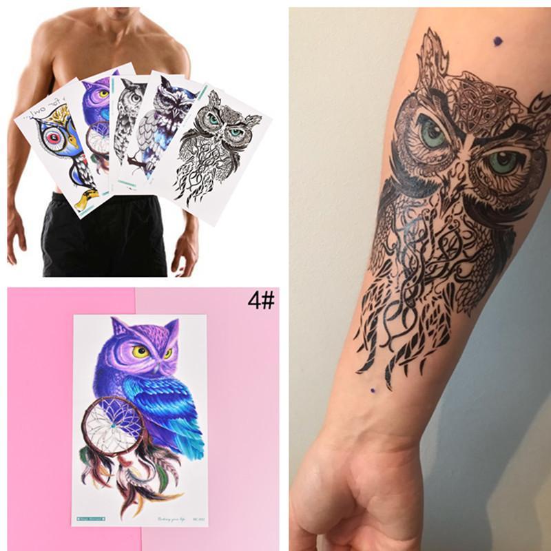 0b3b318163c8b Large Arm Owl Tattoo Sleeve Flash Temporary Tattoo Sticker Waterproof Henna  Tatoo Women Body Art D19011202 Skin Art Temporary Tattoos Superman  Temporary ...