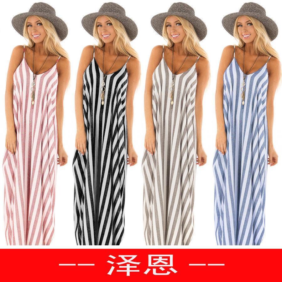 c5fac1d89 Compre Wish Sexy Camisola Splicing Stripe Vestido De Péndulo Grande Mujer  Maxi Para Ropa De Mujer Más Modelos Ropa Blanca Damas Venta Vestidos  Vestidos A ...