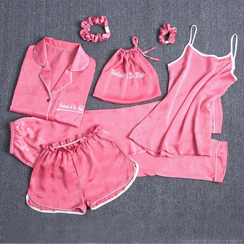 c21692b8ec 2019 Pink Women Pajamas Sets Solid Homewear Satin Silk Sleepwear 2019 Autumn  Spring Homewear Pijama Lingerie Nightdress From Rosaling, $35.32    DHgate.Com