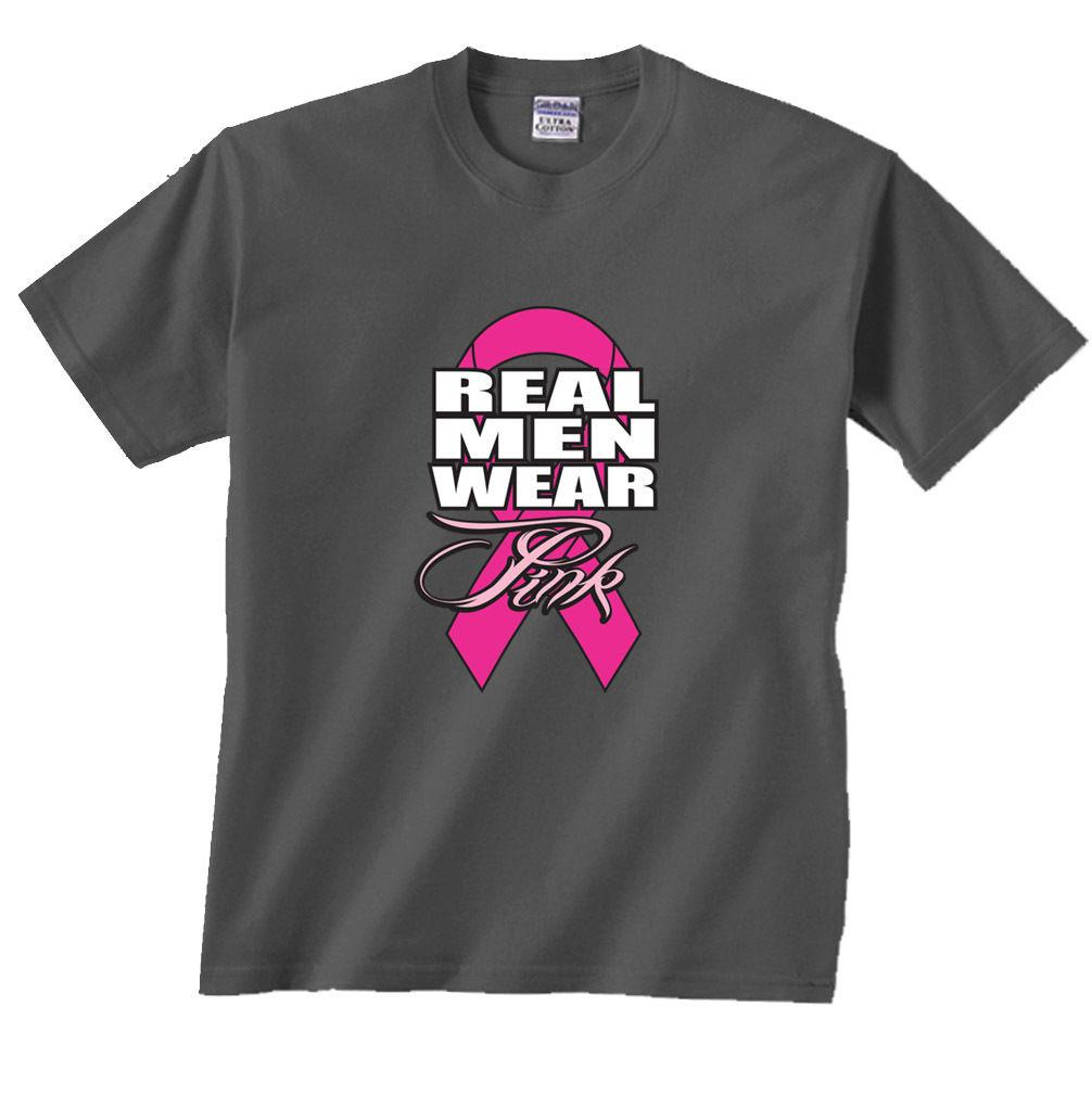 04627309a06 Real Men Wear Pink Ribbon Breast Cancer T Shirt Fashion Style Men ...
