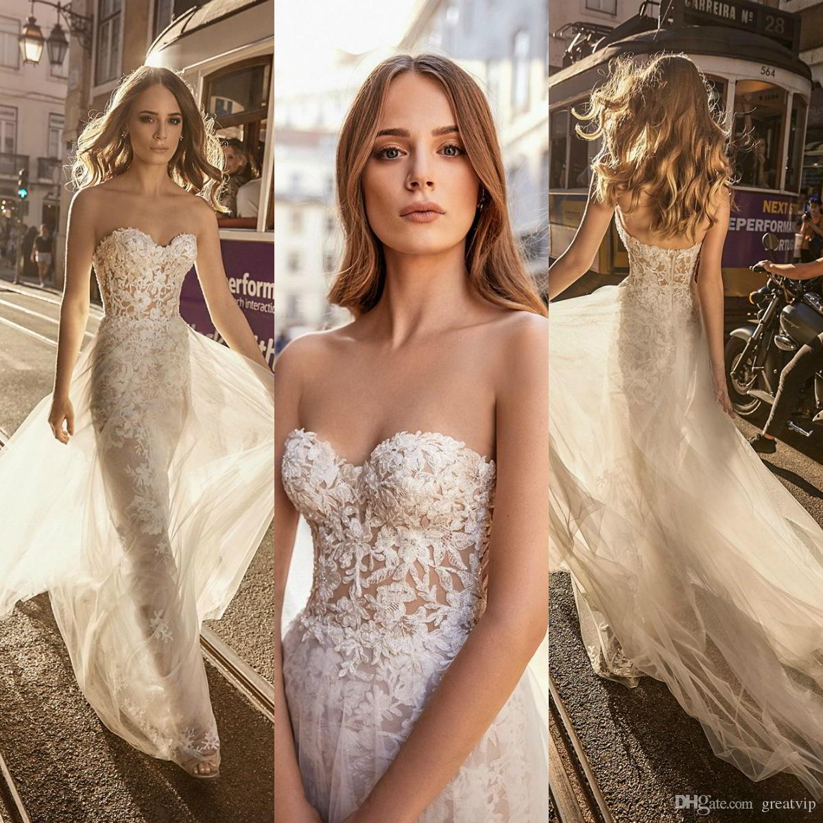 Berta 2019 Sweetheart Mermaid Wedding Dresses Lace Applique Backless Sweep  Train Bridal Gowns Plus Size Beach Boho Wedding Dress Couture Wedding  Dresses ... 9002694bfd9a