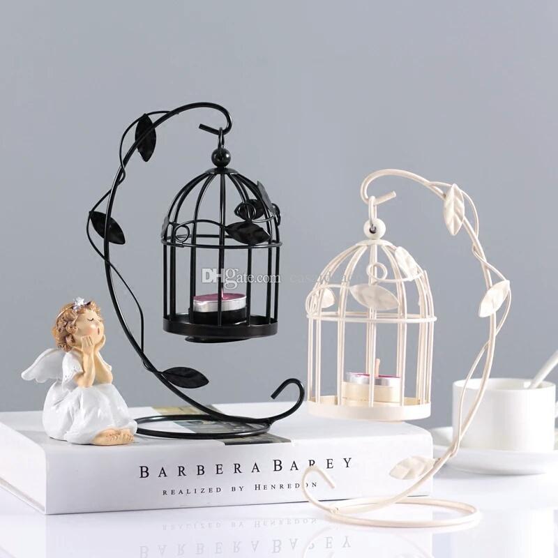 Creative Birdcage Tealight Candle Holder Romantic Iron Bird Cage
