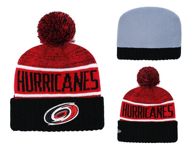 a8d586d8cdb NEW Men S Hurricanes Red Black Color Knitted Cuffed Pom Beanie Hats Striped  Sideline Hockey Teams Beanie Cap Bonnet Winter Beanies Skull Hat Baseball  Cap ...
