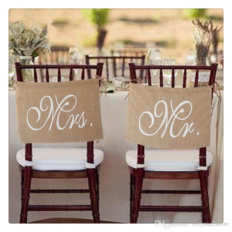 Chair Banner Wedding Chair Sign Garland Rustic High Quality Burlap and Funny Words Romantic Atmosphere Party Decor