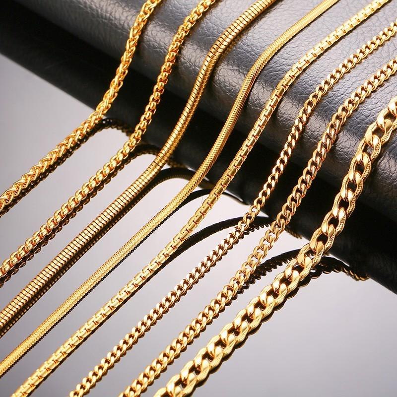6f242ceffca Chain Necklaces Gold Color Women Men Chain Necklaces Stainless Steel Curb  Flat Snake Link Chains 24\