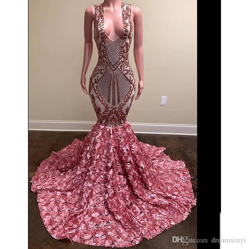 Open Back Mermaid Prom Dresses 2019 New Sleeveless V Neck Sweep Strain Flowers Formal Evening Dress Party Gowns Custom Made