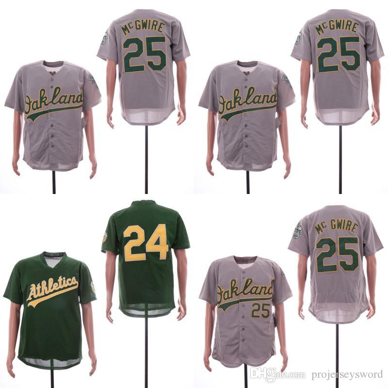 33dd943ca 2019 Mens Oakland Jersey 24 Rickey Henderson 25 McGwire Flex Base Cool Base  100% Stitched Athletics Baseball Jerseys Cheap Fast Shipping S XXXL From ...