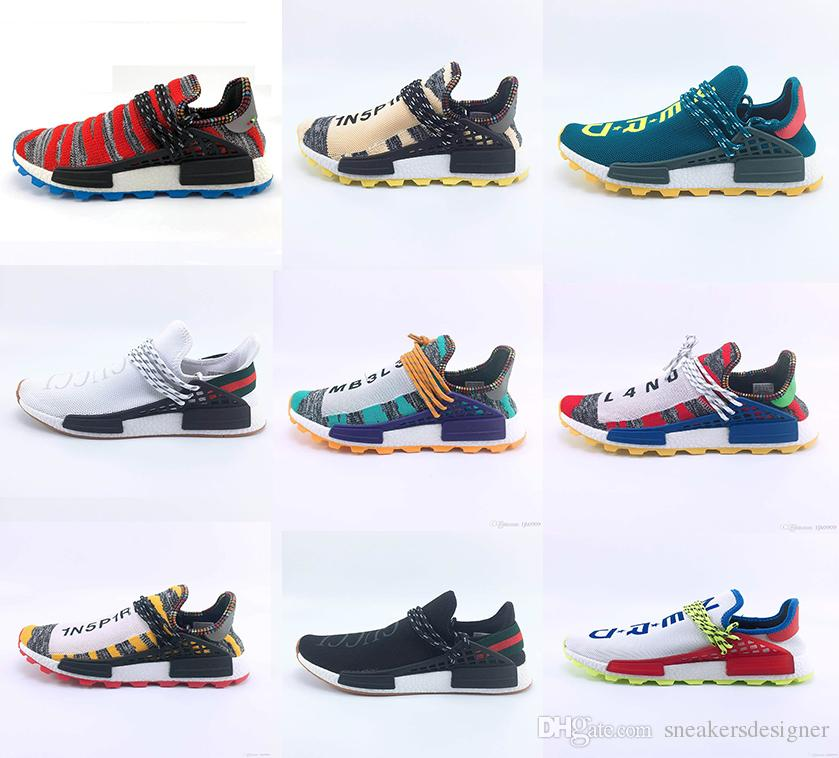 cbb6bfa91c4be 2018 Different Prices Human Race Afro Hu Trial Red Green Pharrell Williams  Men Running Shoes Black Solar Pack 3 Women Trainers Sports Sneaker From ...