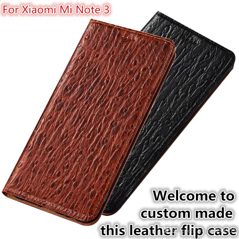 wholesale dealer f1618 61169 QX07 Natural Leather Magnetic Flip Case With Card Slot For Xiaomi Mi Note 3  Phone Case For Xiaomi Mi Note 3 Flip Cover Kickstand