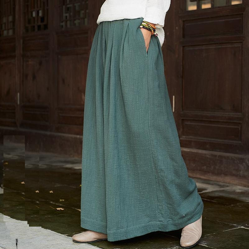 2018 Spring Summer Culottes Pants Vintage Linen Pants Loose Full Length Trousers Women Wide Pants White 6 Colors,bxf2299 Y19071601