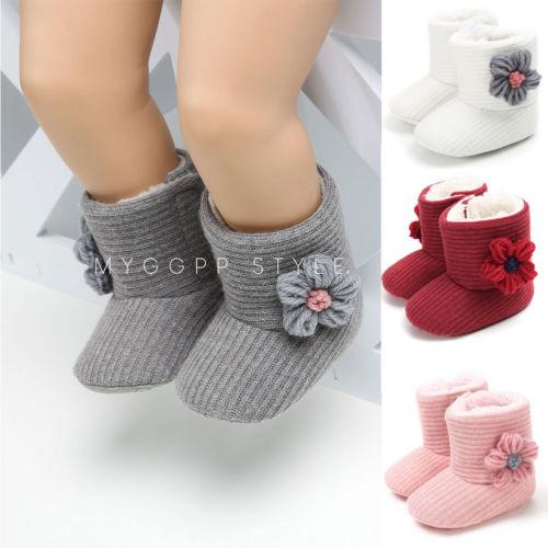 Infant Toddler Baby Girls Fashionable Winter Warm Snow Boots Kids Thick Plush Boots Flower Decor Fur Shoes NEW