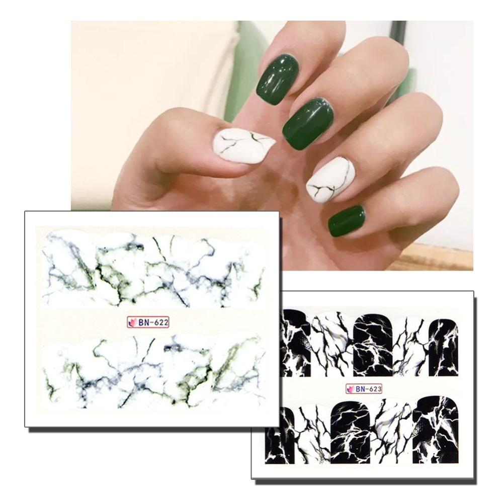 Fashion Stickers For Nails Water Decals Nails Stickers Marble Decor ...