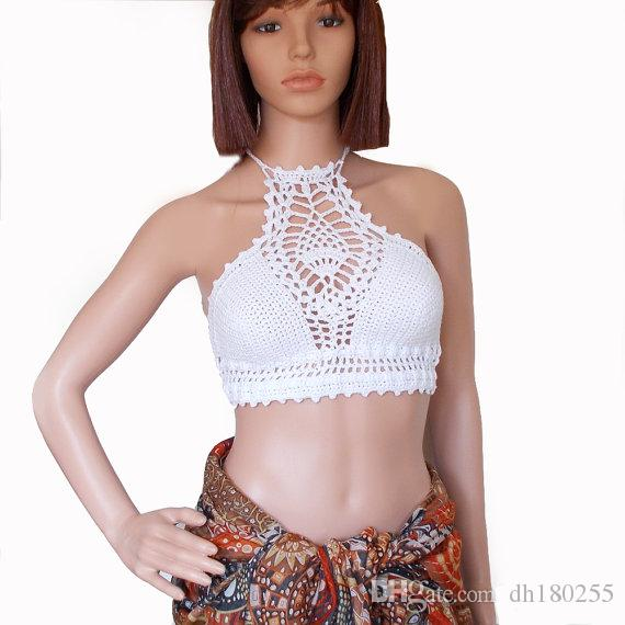 2019 White High Neck Bikini Crochet Crop Top Festival Backless Lace
