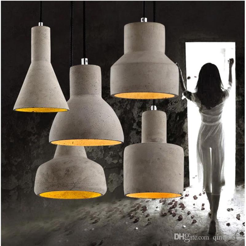 Lampe Ciment Avec Interrupteur Restaurant Salon Suspension E27 Deco Pour Vintage Art 220v Luminaire Gravé Led uPXkZi