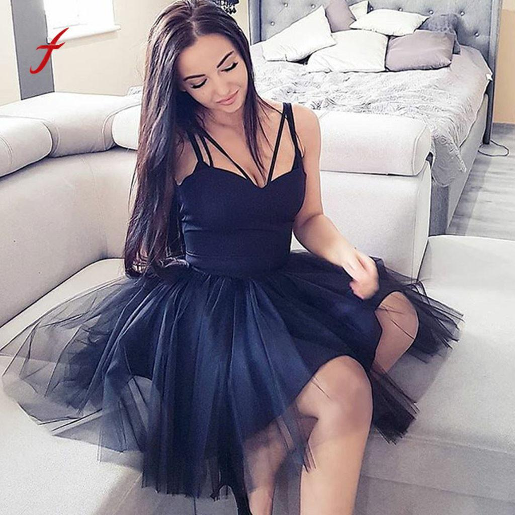 Feitong Dress For Women Sexy Mesh Sleeveless V Neck Off Shoulder Dress  Evening Party Decoration Dresses Summer 2019 Prom Dresses Online White Formal  Dresses ... a5629f14b7c7
