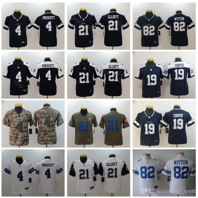 e9a9cc8c3 2019 Youth Dallas Cowboys Jerseys Thanksgiving Football 4 Dak Prescott 21  Ezekiel Elliott 82 Jason Witten 19 Amari Cooper Kids Jersey Blue White From  ...