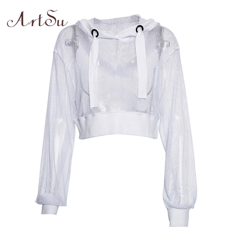 Artsu Autumn Mesh Top Hooded Long Sleeve Woman Tshirt Top White Sexy Transparent Fishnet Top Crop Tee Shirt T-shirt Asts20451 Y19042101