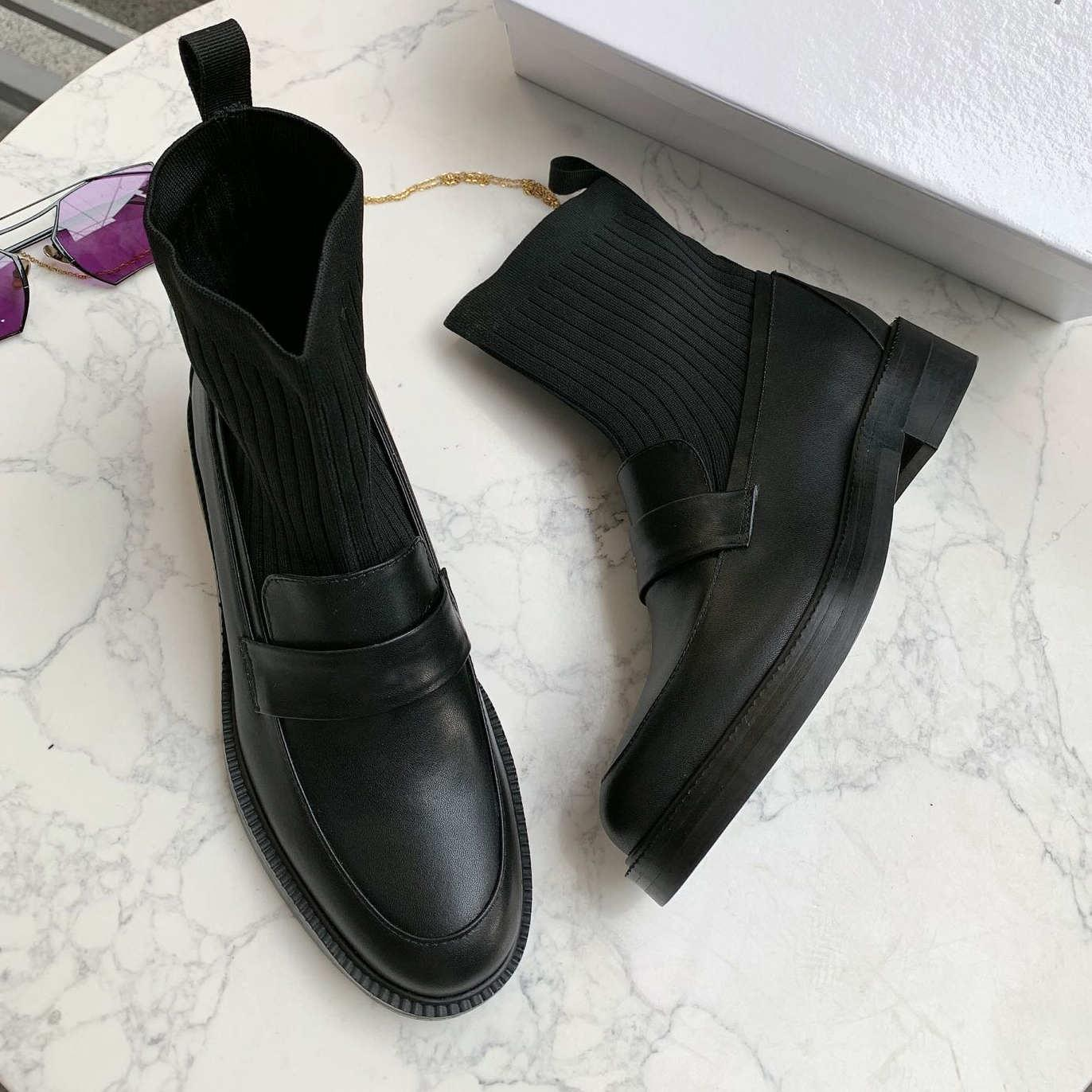 2019 Chaussures Casual Femmes Marque Designer Lady High Fashion OL Office Lady Chaussures Printemps noir Automne cuir véritable Lighted Street Style 99172CE