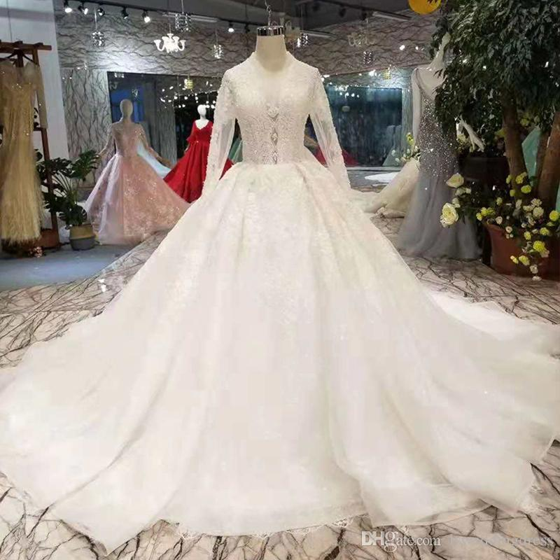 Discount Long Sleeves Wedding Dresses With Long Train Zipper Back