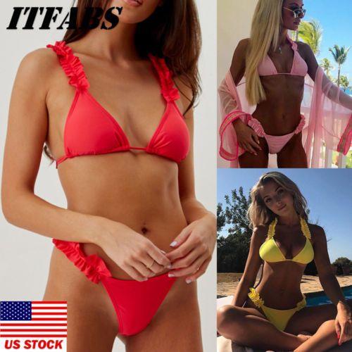 73e24894585 ITFAB Sexy Brazilian Swimwear Women Ruffle Bandage Bikini Set Push ...