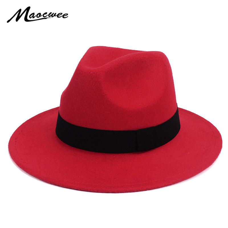 b5b9e75de8 Black Jazz Fedoras For Women Vintage Wide Brim Fedora Hat Floppy Cloche Men  Gangster Hat Chapeu Casual Solid Pink Red Bones 2018 D19011102