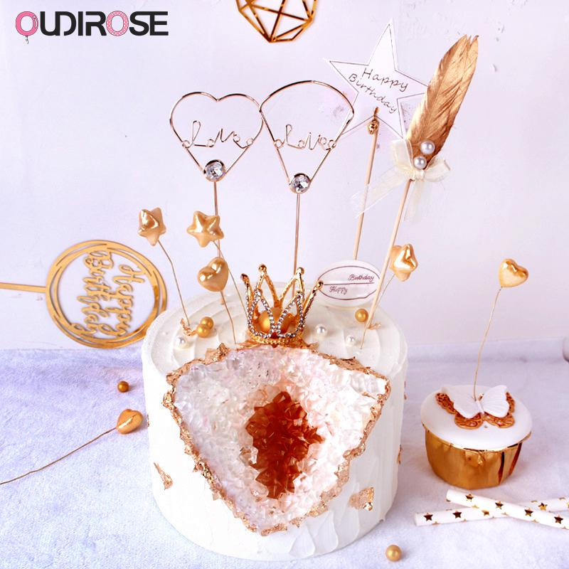 2019 Gold Love Diamond Crown Feather Cake Topper Happy Birthday Party Boy Gilr Gifts Top Flag Wedding Decoration Supplies From Instrumenthome