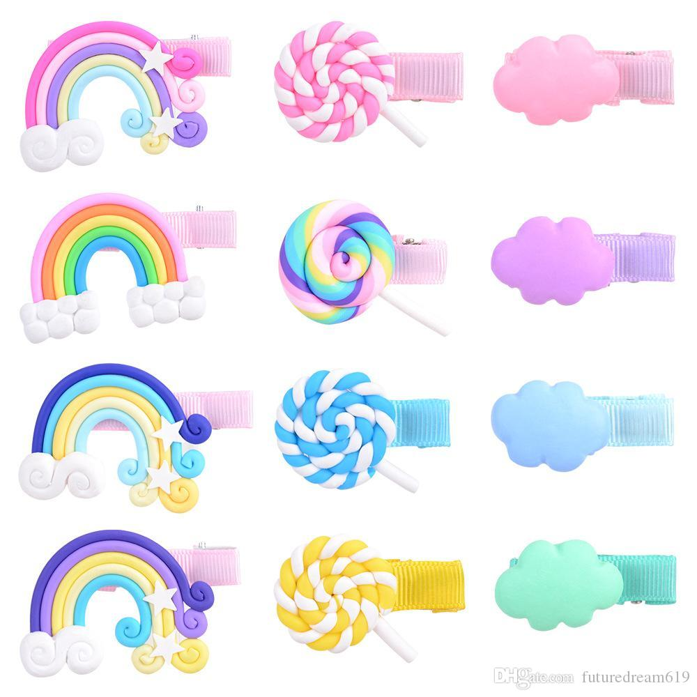 Rainbow Clouds Lollipop Hairpin cute Baby Girls Candy colors Barrettes fashion Kids Boutique Hair Clip Children Hair Accessories 12 colors