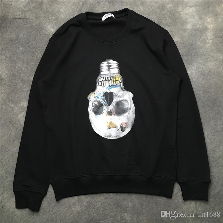 2018 Hot Sell Brand Men Individuality Lamp Bulb Skull Printing Sweater Fashion Men Hoodies Casual Sports Long Sleeve Sweatshirt