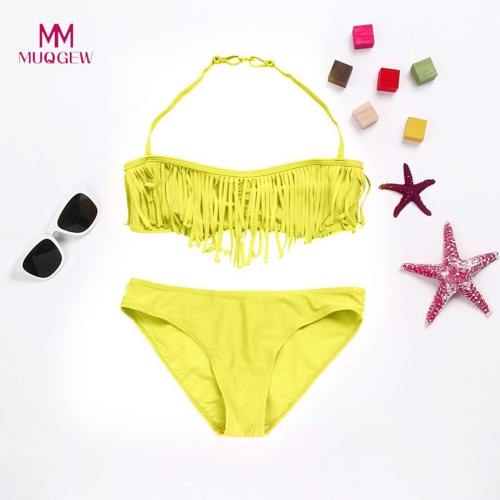 c6879baf471d3 Großhandel MUQGEW 2019 Neue Sommer Badeanzug Kinder Baby Mädchen Feste  TaSSel Bikini Set Bademode Badesachen Beachwear Von Ferdimand, $34.83 Auf  De.Dhgate.
