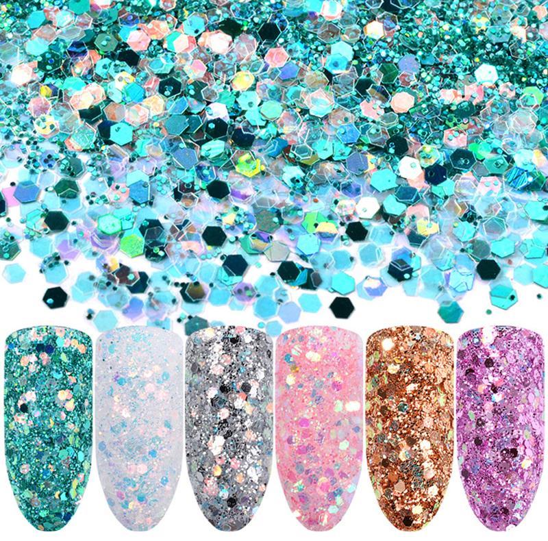 1 Box Rose Lila Glitter Pulver Pailletten Gemischt Nagel Funkelt Shiny Pulver Nail Art Dekorationen Nagel-werkzeuge Nails Art & Werkzeuge Schönheit & Gesundheit