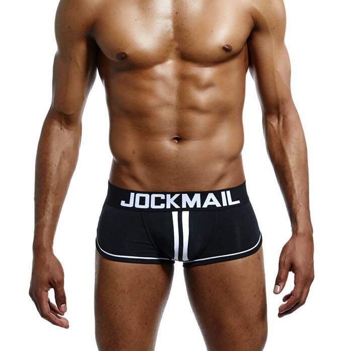 4 Colors Mens Underwears Sexy Boxers JOCKMAIL Letter Printed Low Waist Hollow Out Boxer M -2XL Free Shipping
