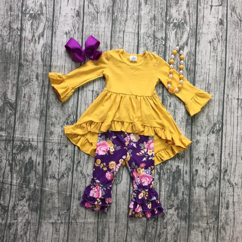 1b766b30c 2019 New Arrival Spring Winter Baby Girls Outfits Pant Mustard Purple  Floral Children Clothes Dress Ruffle Boutique Match Accessories From  Babymom