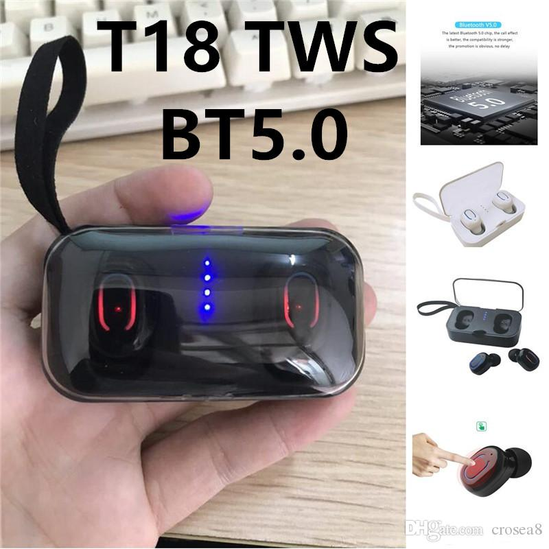 Ti8S T18S TWS Mini Wireless 5.0 Bluetooth Earbuds Binaural Calls Both Side Music Play Headphone Sport Ture Stereo Earphones In Ear Headset