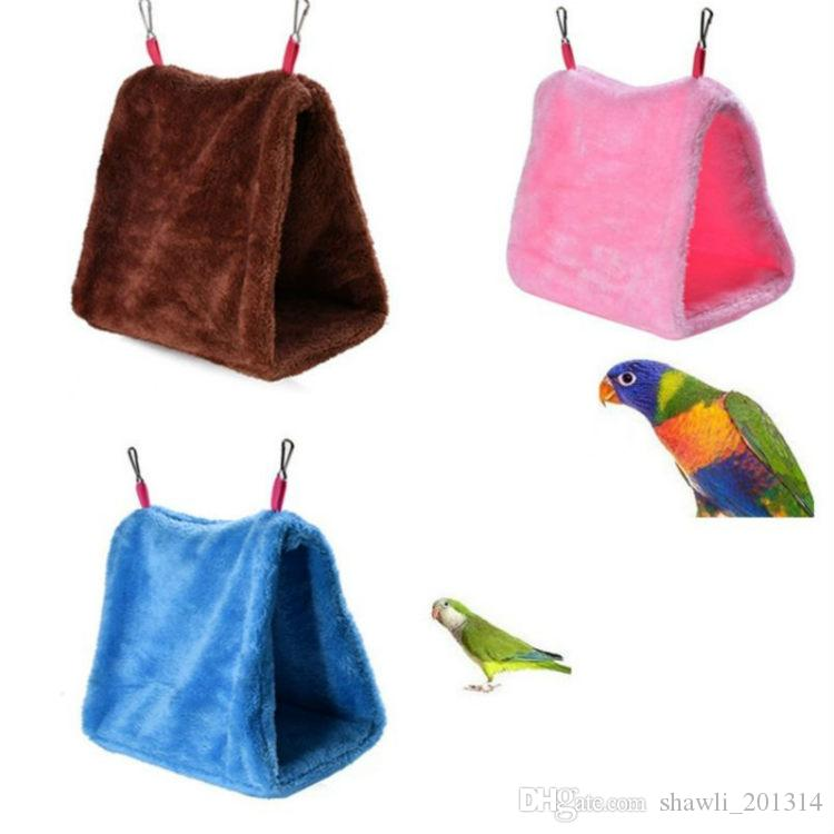 Newest warm Hot Pet Bird Parrot Parakeet Budgie Warm Hammock Cage Soft Hut Tent Bed Hanging Cave Plush Winter Warm Cage Nest Tent