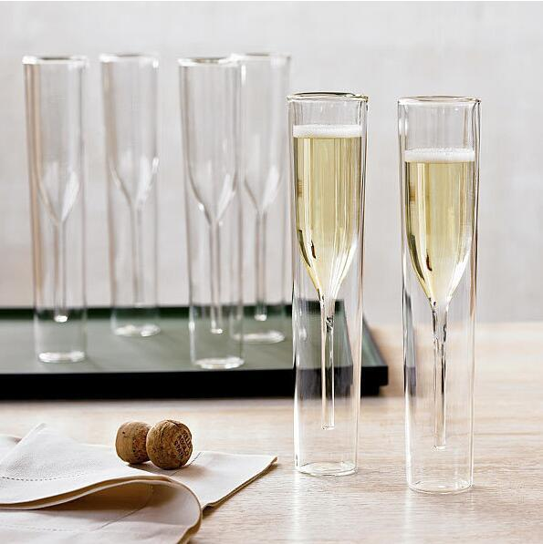 Double Champagne Glass double Glass Temperature Resistant Goblet For Wedding Party Bar Decoration Wine Cups Mugs GGA1846