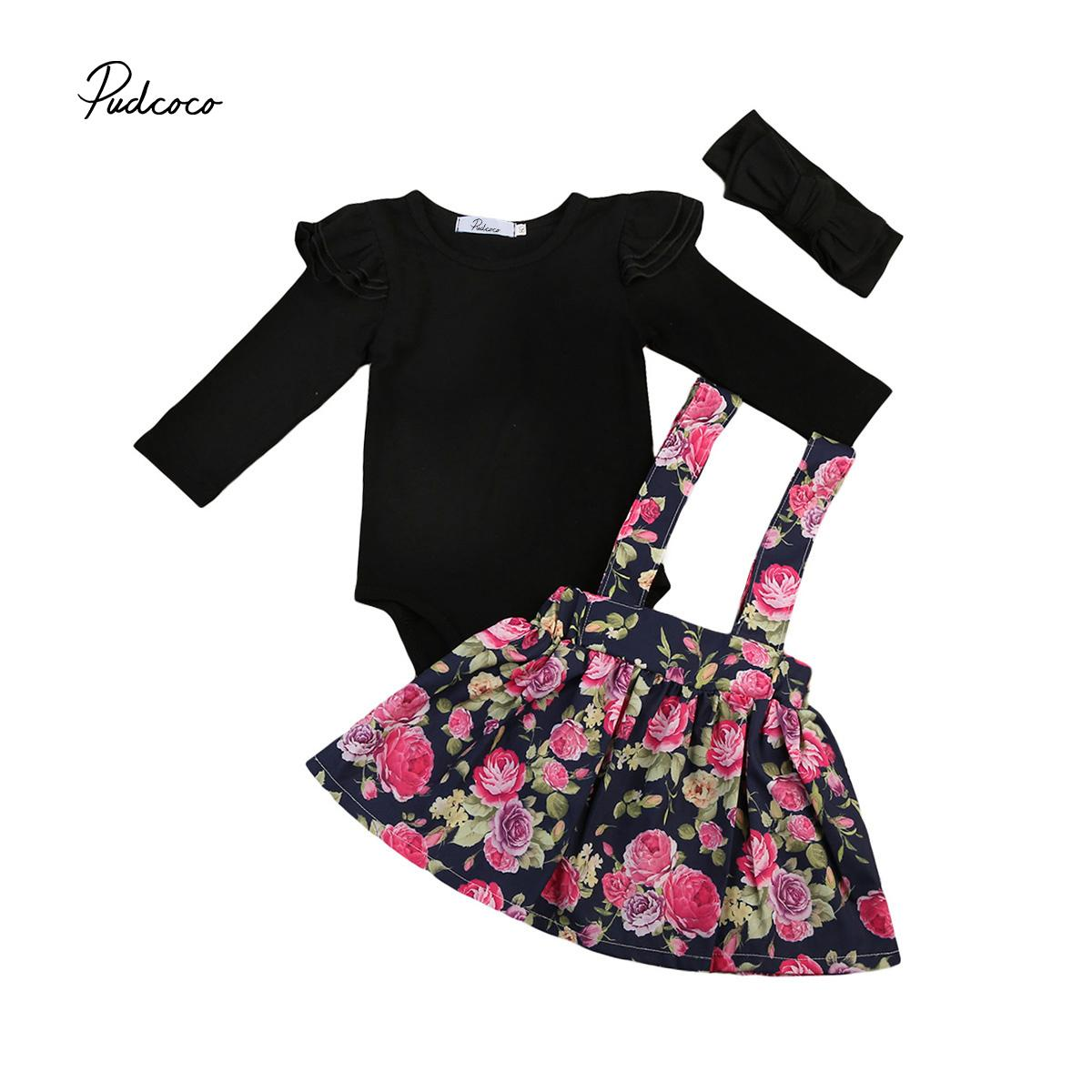 Adorable Baby Girl Clothes Set 0 24M Infant Girl Black Long Sleeve Romper  Floral Skirt Outfits Set Baby Girl Autumn Costume Y18120303 UK 2019 From ... 68c648ca6420