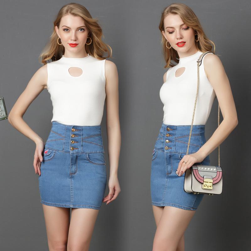 e195597d6e Compre Primavera 2019 Nuevo Falda Larga De Talle Alto Y Media Pierna De  Mujer Jeans Bordados Falda Corta Con Falda Delgada De Jeans Slim A  17.09  Del Dhh45 ...