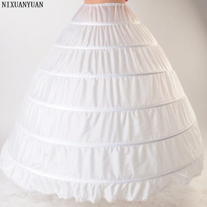 White Petticoat Ball Gown Under Skirt Puffy Wedding Dress 6 Hoops Crinoline Underskirt Quinceanera Petticoat Jupon Long