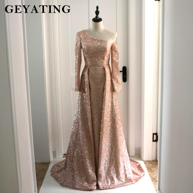 5e30d03d17 Arabic Long Sleeves Evening Formal Dresses With Detachable Skirt One  Shoulder Bling Rose Gold/champagne Sequin Prom Dress Dubai Y19042701