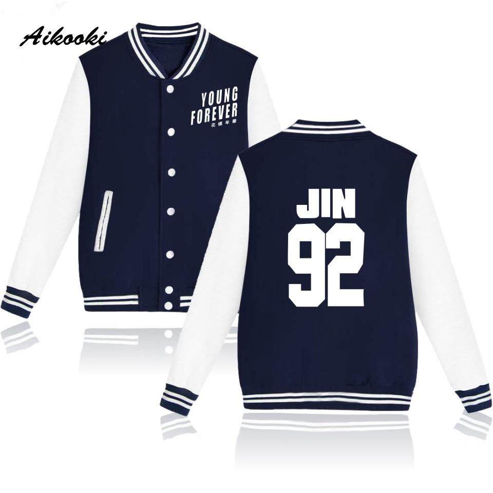 Aikooki BTS Baseball Jacket Long Sleeve Women Bangtan Kpop Coat Winter Sweatshirt Women Korean Young Forever Men Jacket Clothes