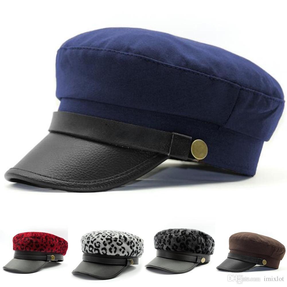Women Men Fashion Leather Band Marine Sea Flat Army Navy Sailor Cap Retro  Cabbie Beret Hat (One Size:57cm)