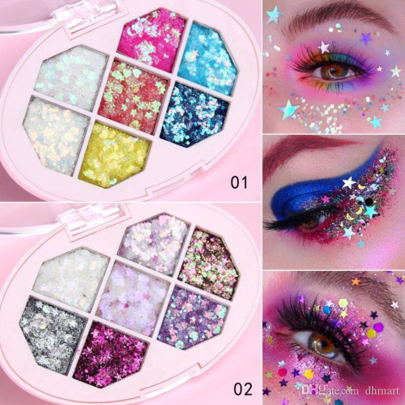 CmaaDu 7 Colors Glitter Eye Shadow Sequins Shiny Eyeshadow Palette Branded Shining Eyes Makeup Palettes DHL Free Shipping