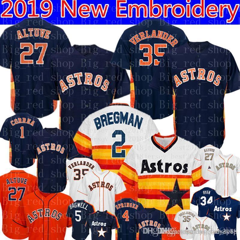 7da8bf815b2 2019 Houston Jersey Astros 2 Alex Bregman 27 Jose Altuve 35 Justin  Verlander 4 George Springer 1 Carlos Correa 34 Nolan Ryan Baseball Jerseys  From ...