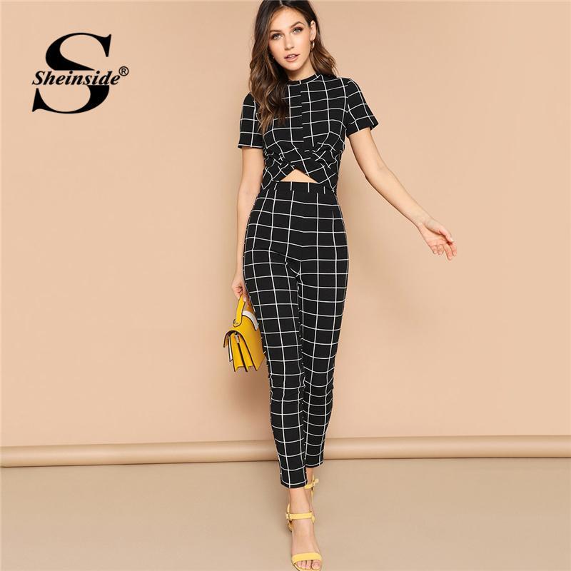 70b791e0cb 2019 Sheinside Black Cross Wrap Bodycon Tshirt Grid Two Piece Set Top And  Pants 2019 Elegant Crop Tops Women Short Sleeve Set Y19042901 From  Fashion_fable, ...