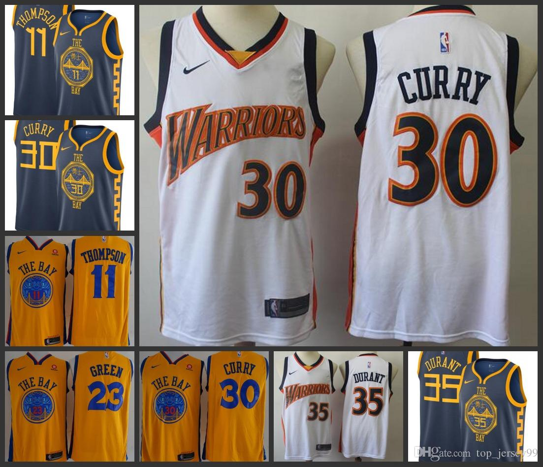 best cheap ad45b 9fe52 2019 Season Golden Men State Warriors Jersey Stephen Curry Thompson Kevin  Durant City Jerseys Edition
