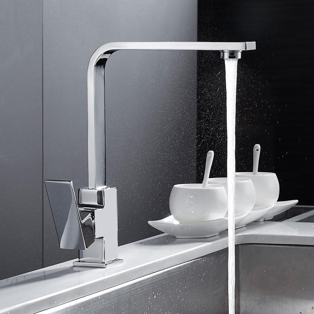 Chrome Square Kitchen Faucet Modern Filter Water Sink Mono Bloc Single  Lever Cold and Hot Brass Faucet Swivel Spout Mixer Tap