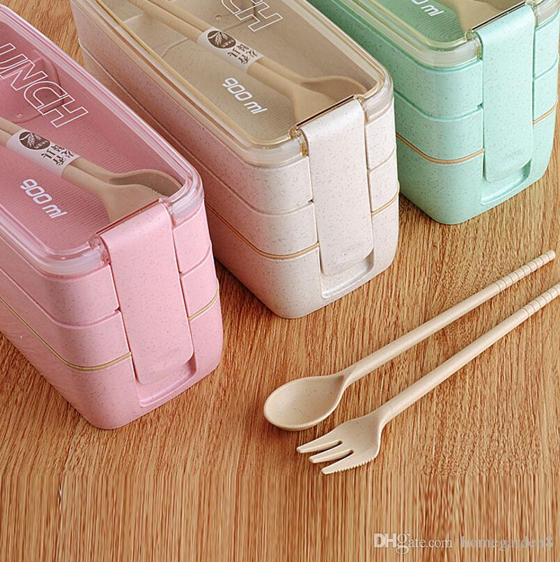 Plastic Student Lunch Box with Fork Spoon Creative Green Wheat Lunch Box Wheat Straw Lunch Box 900ml Three-layer